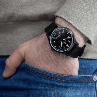 """The Traveler"" Military inspired Pilot Watch with beautiful ""Sandwich Dial"""