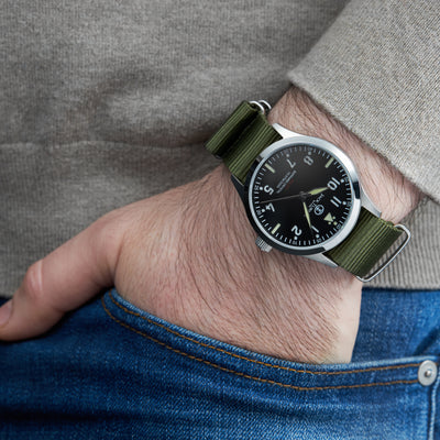 Rugged and precise this handsome, military-inspired watch is available for pre-order.