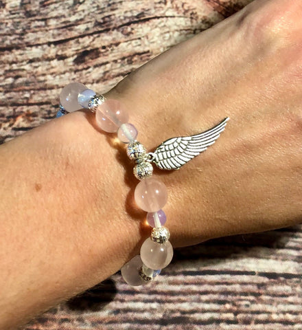 Rose Quartz Protection Wings Bracelet
