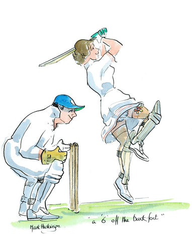 A 6 Off The Back Foot - cricket art print by Mark Huskinson