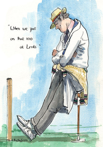 When We Put On That 100 At Lords - cricket art print by Mark Huskinson