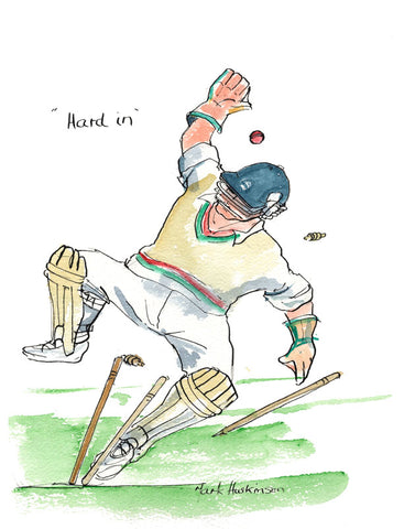 Hard In - cricket art print by Mark Huskinson