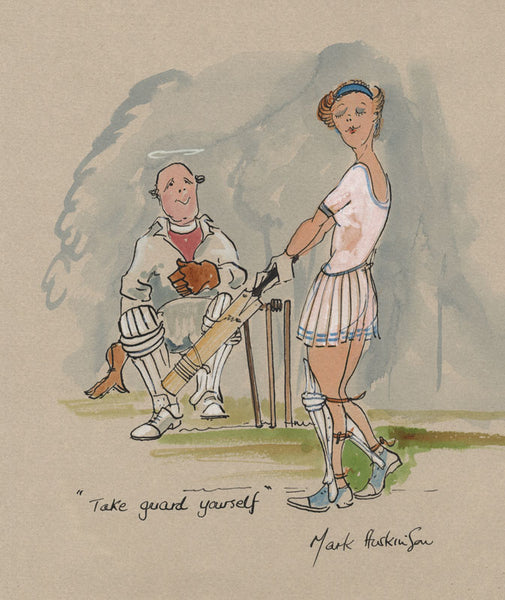 Take Guard Yourself - cricket art print by Mark Huskinson