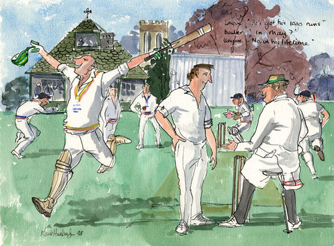 He Got His 1000 Runs - cricket art print by Mark Huskinson