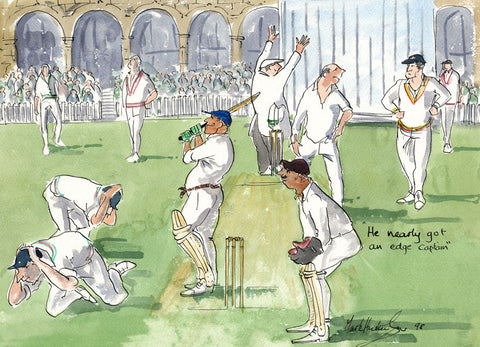 He Nearly Got An Edge Captain - cricket art print by Mark Huskinson