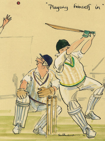Playing Himself In - cricket art print by Mark Huskinson