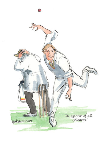 The Spinner Of All Spinners - cricket art print by Mark Huskinson