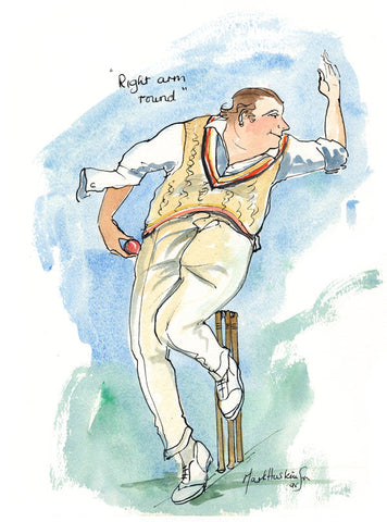 Right Arm Round - cricket art print by Mark Huskinson