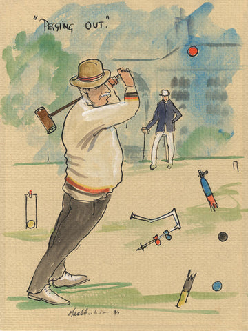 Pegging Out - croquet art print by Mark Huskinson