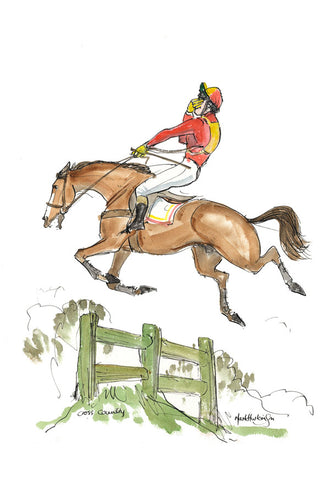 Cross Country - equestrian art print by Mark Huskinson