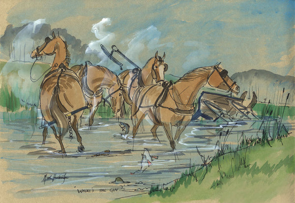 Where's The Guv? - equestrian art print by Mark Huskinson