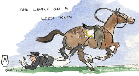 Leave On A Loose Rein - equestrian art print by Mark Huskinson