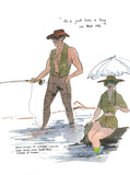 He'd Just Love A Tug On That Rod - fishing cartoon art print by Mark Huskinson