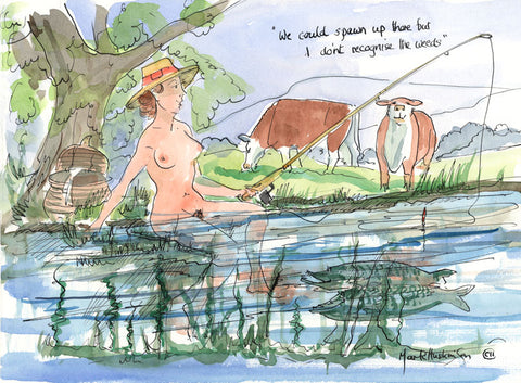 We Could Spawn Up There - fishing cartoon art print by Mark Huskinson