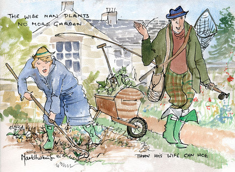 The Wise Man Plants No More Garden - fishing and gardening cartoon art print by Mark Huskinson