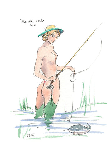 The Old Cock's Lure - fishing cartoon art print by Mark Huskinson