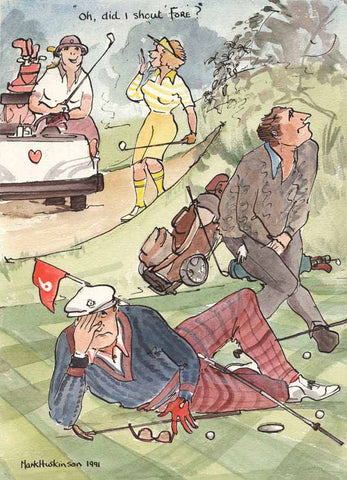 Oh, Did I Shout Fore? - golfing art print by Mark Huskinson
