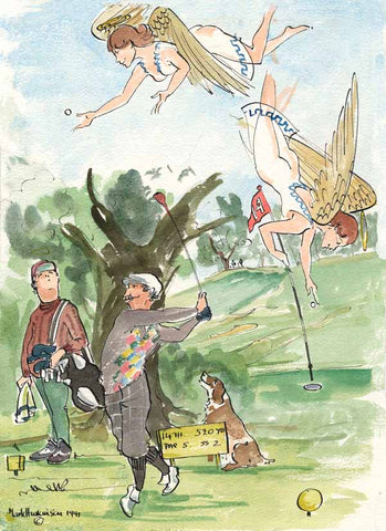 Angels - golf art print by Mark Huskinson