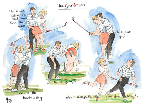 The Golf Lesson - golfing art print by Mark Huskinson