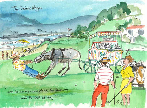 The Drinks Wagon - golf cartoon by Mark Huskinson