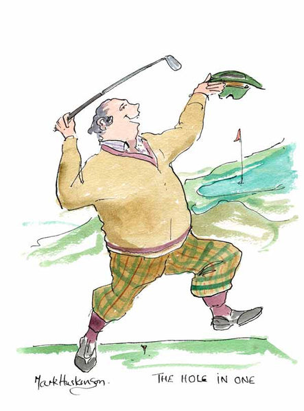 The Hole In One - golf art print by Mark Huskinson