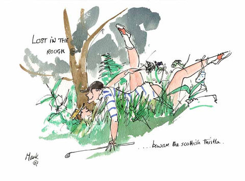 Lost In The Rough - golfing cartoon by Mark Huskinson