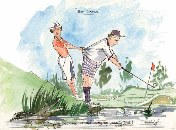 Her Choice - golfing art print by Mark Huskinson