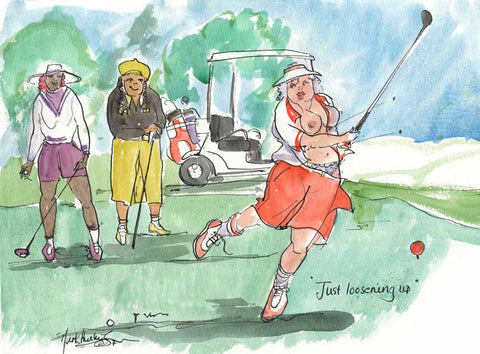Just Loosening Up - golfing cartoon by Mark Huskinson