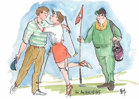For The Love Of Golf - golf cartoon art print by Mark Huskinson