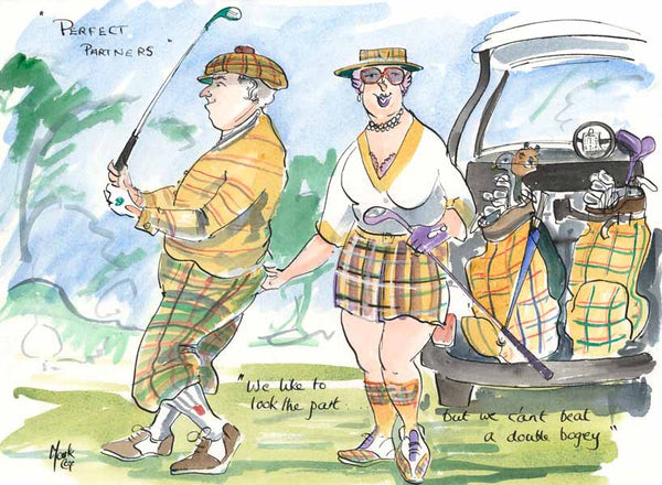 Perfect Partners - golfing cartoon by Mark Huskinson