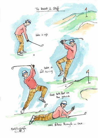 To Knock It Stiff - golfing cartoon by Mark Huskinson