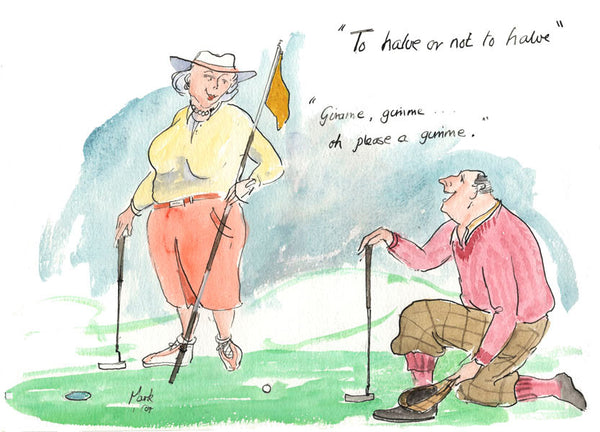 To Halve Or Not To Halve - golf art print by Mark Huskinson