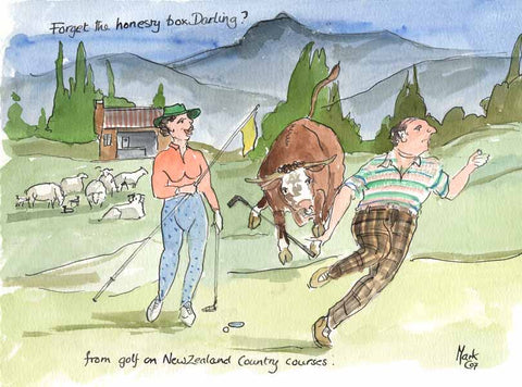 Forget The Honesty Box Darling?  - golfing art print by Mark Huskinson
