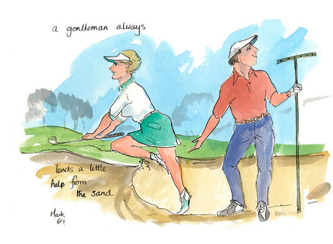 A Little Help From The Sand - golf cartoon by Mark Huskinson
