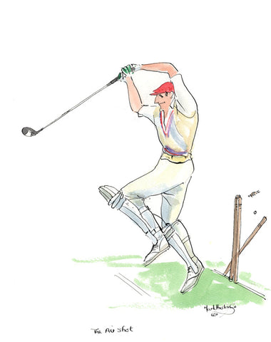 The Air Shot - golf/cricket cartoon by Mark Huskinson