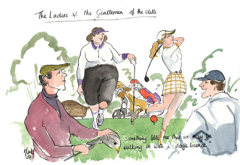 The Ladies v The Gentlemen Of The Club - golf cartoon by Mark Huskinson