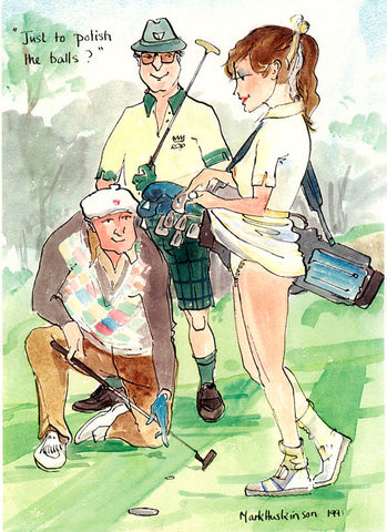 Just To Polish The Balls - golf art print by Mark Huskinson