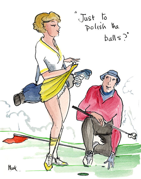 Just To Polish The Balls - golfing cartoon by Mark Huskinson