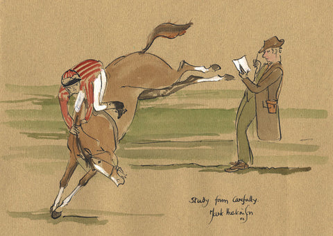 Study Form Carefully - horse racing art print by Mark Huskinson
