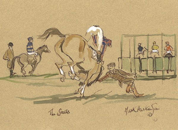 The Stalls - horse racing art print by Mark Huskinson