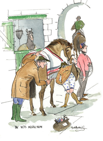 The Vet's Inspection - horse racing art print by Mark Huskinson