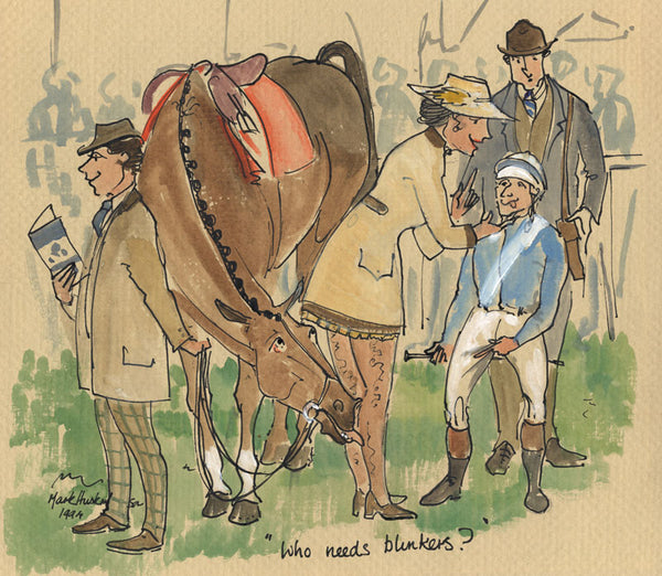 Who Needs Blinkers? - horse racing art print by Mark Huskinson