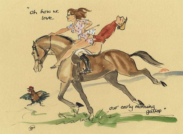 We Love Our Early Morning Gallop - horse art print by Mark Huskinson