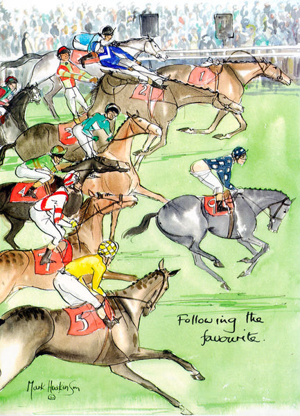 Following The Favourite - horse racing art print by Mark Huskinson
