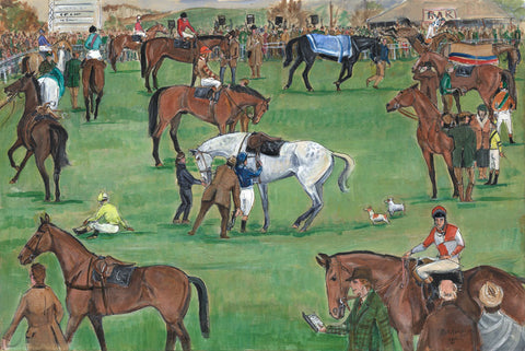 The Paddock - horse racing art print by Mark Huskinson