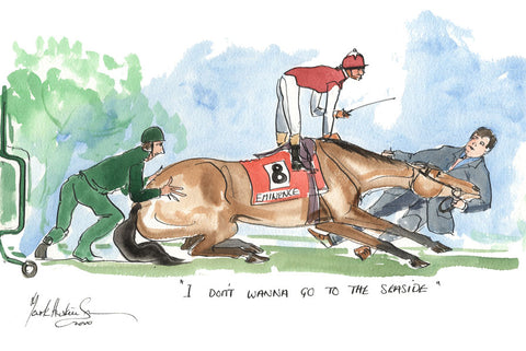 I Don't Wanna Go To The Seaside - horse racing art print by Mark Huskinson