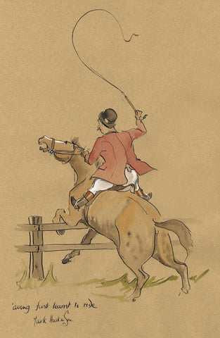 'aving First Learnt To Ride - hunting cartoon by Mark Huskinson