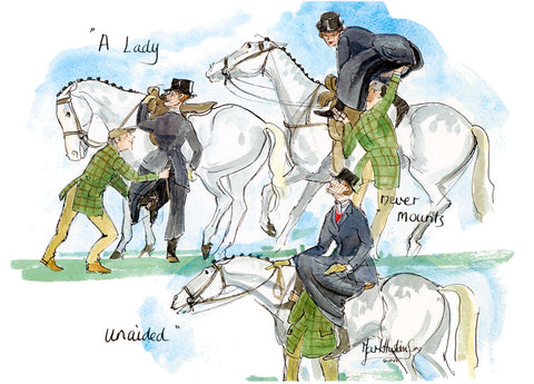 A Lady Never Mounts Unaided - hunting cartoon by Mark Huskinson