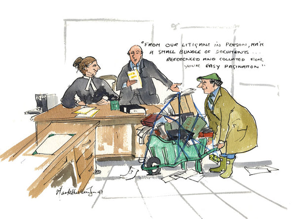 From Our Litigant In Person - legal cartoon print by Mark Huskinson