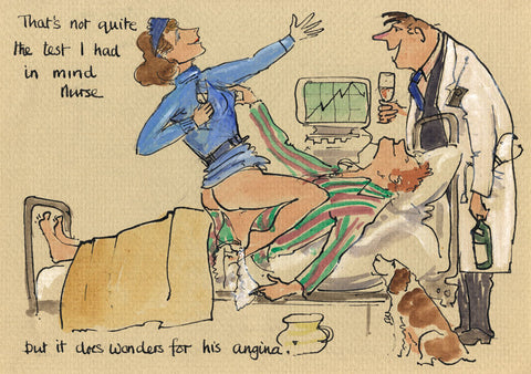 It Does Wonders For His Angina - medical cartoon by Mark Huskinson